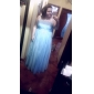 Prom/Military Ball/Formal Evening Dress - Sky Blue Plus Sizes A-line/Princess One Shoulder Floor-length Chiffon/Tulle