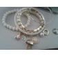 kvinnors grundläggande pärla pärla lager armband