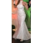 Hochzeitskleid - Elfenbein Satin/Tüll - Meerjungfrau-Linie - Hof-Schleier - Stehkragen Übergrößen