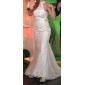 Trumpet/Mermaid Plus Sizes Wedding Dress - Ivory Court Train High Neck Satin/Tulle