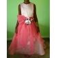 A-line rochie cu margele printesa etaj lungime floare fată rochie - satin fără mâneci bateau gât de lan ting bride®