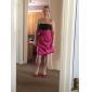 Coloană / Teacă Fără Bretele Lungime Genunchi Satin Rochie Domnișoară Onoare cu Flori Ruching de LAN TING BRIDE®
