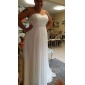 Sheath/Column Plus Sizes Wedding Dress - Ivory Sweep/Brush Train Sweetheart Chiffon