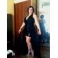 Formal Evening Dress - Black Plus Sizes Sheath/Column Halter/V-neck Asymmetrical/Floor-length Chiffon/Sequined