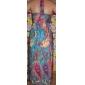 halter / v-cuello de vestido largo de gasa