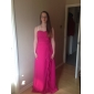 Floor-length Chiffon Bridesmaid Dress - Watermelon Plus Sizes Sheath/Column Strapless/Sweetheart