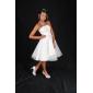 Vestido de Noiva - Marfim Baile Sem Alças Longuete Cetim/Tule Tamanhos Grandes