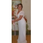 Formal Evening/Military Ball Dress - Silver Plus Sizes Sheath/Column V-neck Sweep/Brush Train Chiffon