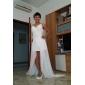 Vestido de Noiva - Branco Justo Em V Assimétrico/Mullet Chifon Tamanhos Grandes
