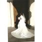 Vestido de Noiva - Marfim Baile Sem Alças Cauda Capela Cetim Tamanhos Grandes