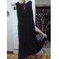 kvinnors imperium midjan v-ringad chiffong ärmlös klänning plus size s-3xl
