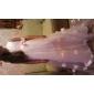 A-line matura / perie trandafir rochie fata rochie - tul fără mânecă v-gât de lan ting bride®