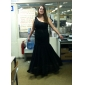 Military Ball/Formal Evening Dress - Ink Blue Plus Sizes Trumpet/Mermaid One Shoulder Floor-length Chiffon/Tulle