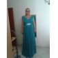 Lanting A-line Plus Sizes / Petite Mother of the Bride Dress - Ruby Floor-length Sleeveless Chiffon