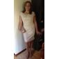 Robe de Mariage - Ivoire Fourreau Col U Profond Court/Mini Court/Mini Grandes Tailles