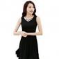 YGR Ärmlös Basic Solid Color Black Dress