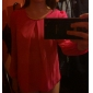 YGR Kvinnors Chiffong Solid Color Ärmlös Fuchsia T-tröja
