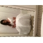 Linia -A Prințesă Gât V Lungime Tea Tafta Rochie de mireasă cu Dantelă de LAN TING BRIDE®