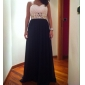 A-linje Kjæreste - Formell Aften/Militærball Dress - Svart Gulvlengde Chiffon Plus Sizes