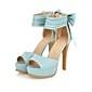 Chaussures femmes large sangle cheville talons des sandales à bout ouvert en couleurs de bonbons avec un arc au comptoir