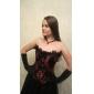 Noir et Rouge Satin Floral Gothic Lolita Corset en dentelle