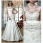 Trumpet/Mermaid Plus Sizes Wedding Dress - Ivory Sweep/Brush Train High Neck Tulle