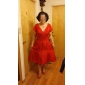 A-line Plus Sizes Mother of the Bride Dress - Ruby Knee-length Short Sleeve Taffeta