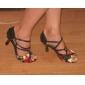 anpassade kvinnors ankelbandet satin latin / ballroom dansskor blomma svart