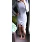 kvinnors fast fodral hög låret delad klänning