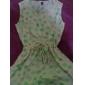 femei de moda gât echipaj mini rezervor model de imprimare casual, model liber floral scurt rochie cu maneci sifon aleatorie