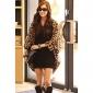 Jinyi coreean Leopard șifon Loose Fit Coat