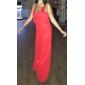 Платье для подружек невесты - Красный Платье-чехол Бретель через шею /V-образный Длина до пола Шифон  Большие размеры