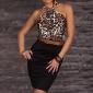 femei ștreangul fără mâneci leopard de imprimare bodycon rochie mini