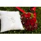 minunat nuntă pernă inel în satin alb cu pere si dantele