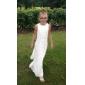 Lanting Bride® Tot de grond Chiffon Junior bruidsmeisjesjurk A-lijn / Strak/kolom Bateau Naturel met Kralen / Zijdrapering