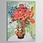 Hand-painted Oil Painting Vase with Daisies and Poppies Vincent Van.Gogh  with Stretched Frame