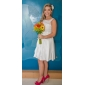 A-line/Princess Plus Sizes Wedding Dress - Ivory Short/Mini Scoop Taffeta/Lace
