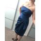 selubung / kolom strapless selutut samping terbungkus gaun pengiring pengantin satin
