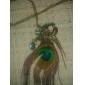 Paon de mode des plumes de Canlyn femmes avec le collier de diamant