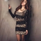 Femeii Fashion Leopard Print Lace Mini Dress