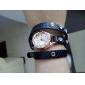Koshi 2014 Kvinnors Metal Chain Diamonade 3 Runda Litchi Leather Watch (Black)