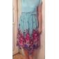 Femei Toate dimensiunile drapata asimetric Metal Lace Collar Rose Hem Dress