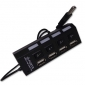 4 portar USB 2.0 Hi-Speed-hubb med switch