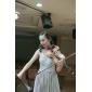 Fiesta formal/Baile Militar Vestido - Plata Corte A/Corte Princesa Hasta el Suelo - Escote en V Gasa/Tul Tallas grandes
