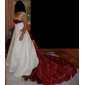 A-line/Princess Plus Sizes Wedding Dress - Ivory Chapel Train Off-the-shoulder Satin