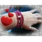 coração das mulheres pérola pulseira de pingentes em camadas