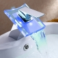 Bathroom Sink Faucet with Color Changing LED High Quality  Brass Waterfall  Faucet(Chrome Finish)
