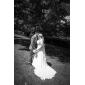 Vestido de Boda - Blanco Corte en A/Corte Princesa Capilla - Escote en V Gasa Tallas Grandes