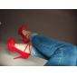 Chaussures Femme - Bureau & Travail / Habillé - Noir / Rouge / Blanc - Talon Aiguille - Talons / A Plateau - Talons - Cuir Verni