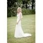 Trumpet/Mermaid Plus Sizes Wedding Dress - Ivory Court Train V-neck Chiffon